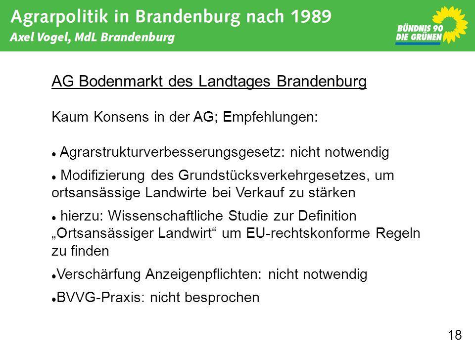 18 AG Bodenmarkt des Landtages Brandenburg Kaum Konsens in der AG; Empfehlungen: Agrarstrukturverbesserungsgesetz: nicht notwendig Modifizierung des G