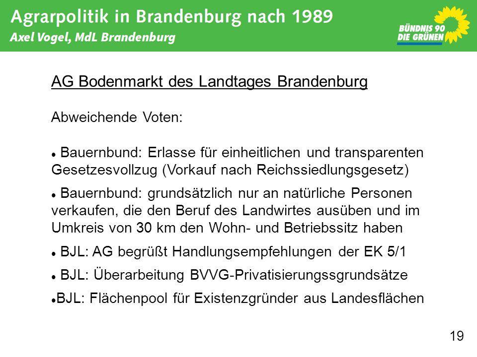 19 AG Bodenmarkt des Landtages Brandenburg Abweichende Voten: Bauernbund: Erlasse für einheitlichen und transparenten Gesetzesvollzug (Vorkauf nach Re