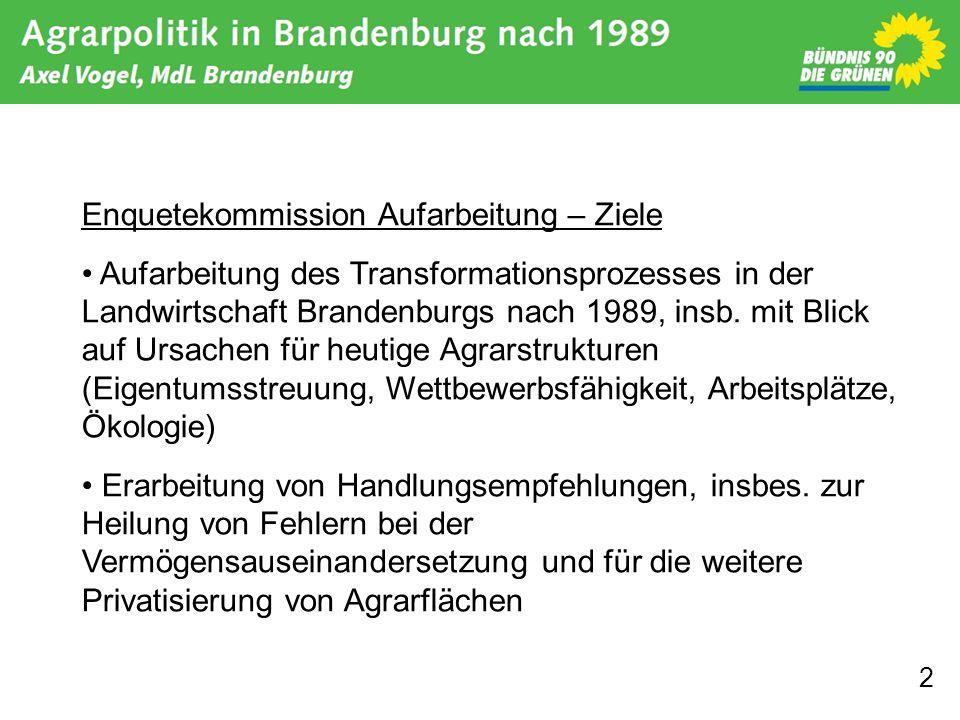 2 Enquetekommission Aufarbeitung – Ziele Aufarbeitung des Transformationsprozesses in der Landwirtschaft Brandenburgs nach 1989, insb. mit Blick auf U