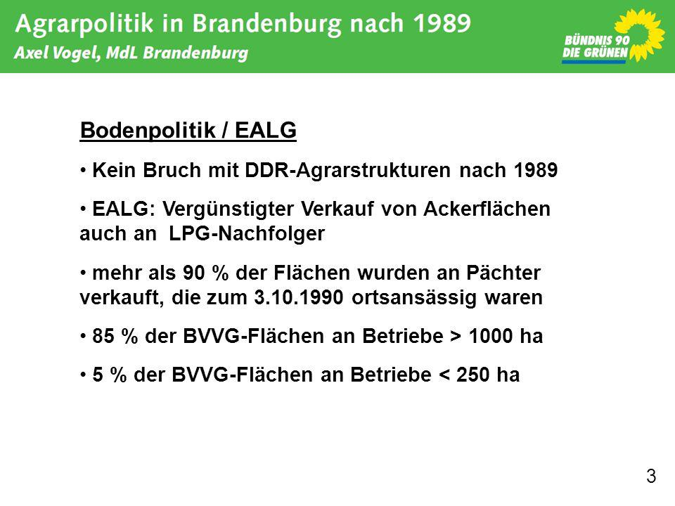 3 Bodenpolitik / EALG Kein Bruch mit DDR-Agrarstrukturen nach 1989 EALG: Vergünstigter Verkauf von Ackerflächen auch an LPG-Nachfolger mehr als 90 % der Flächen wurden an Pächter verkauft, die zum 3.10.1990 ortsansässig waren 85 % der BVVG-Flächen an Betriebe > 1000 ha 5 % der BVVG-Flächen an Betriebe < 250 ha