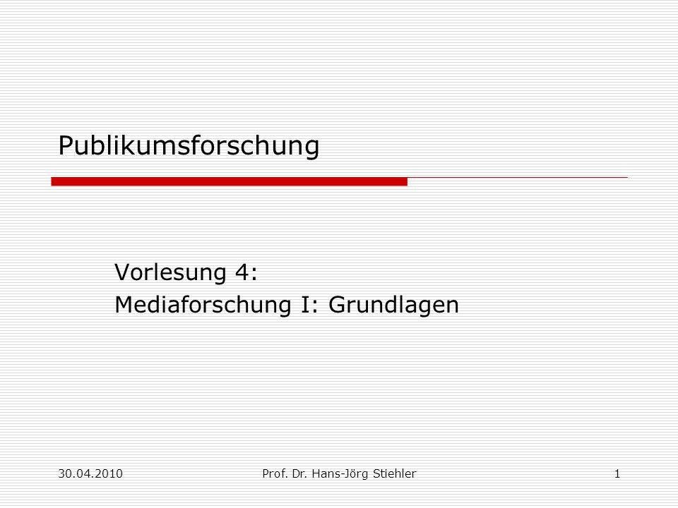 30.04.2010Prof. Dr. Hans-Jörg Stiehler1 Publikumsforschung Vorlesung 4: Mediaforschung I: Grundlagen