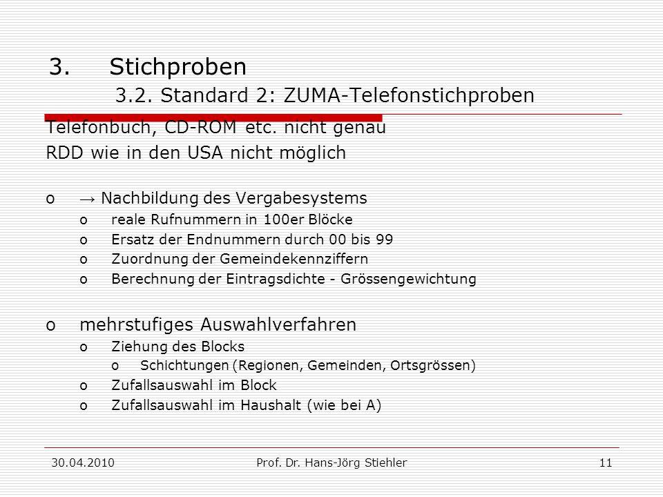 30.04.2010Prof. Dr. Hans-Jörg Stiehler11 3.Stichproben 3.2. Standard 2: ZUMA-Telefonstichproben Telefonbuch, CD-ROM etc. nicht genau RDD wie in den US