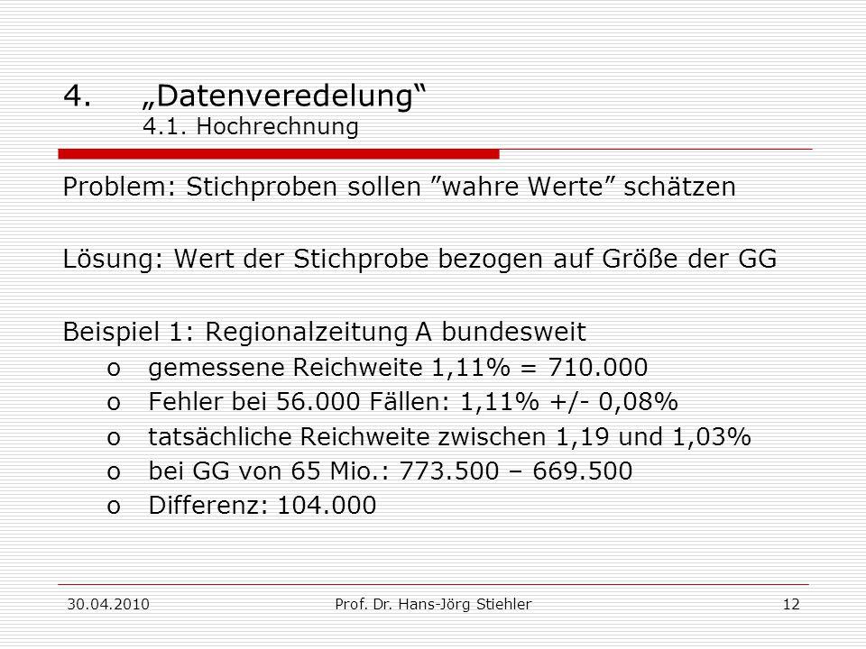"""30.04.2010Prof. Dr. Hans-Jörg Stiehler12 4.""""Datenveredelung"""" 4.1. Hochrechnung Problem: Stichproben sollen """"wahre Werte"""" schätzen Lösung: Wert der Sti"""