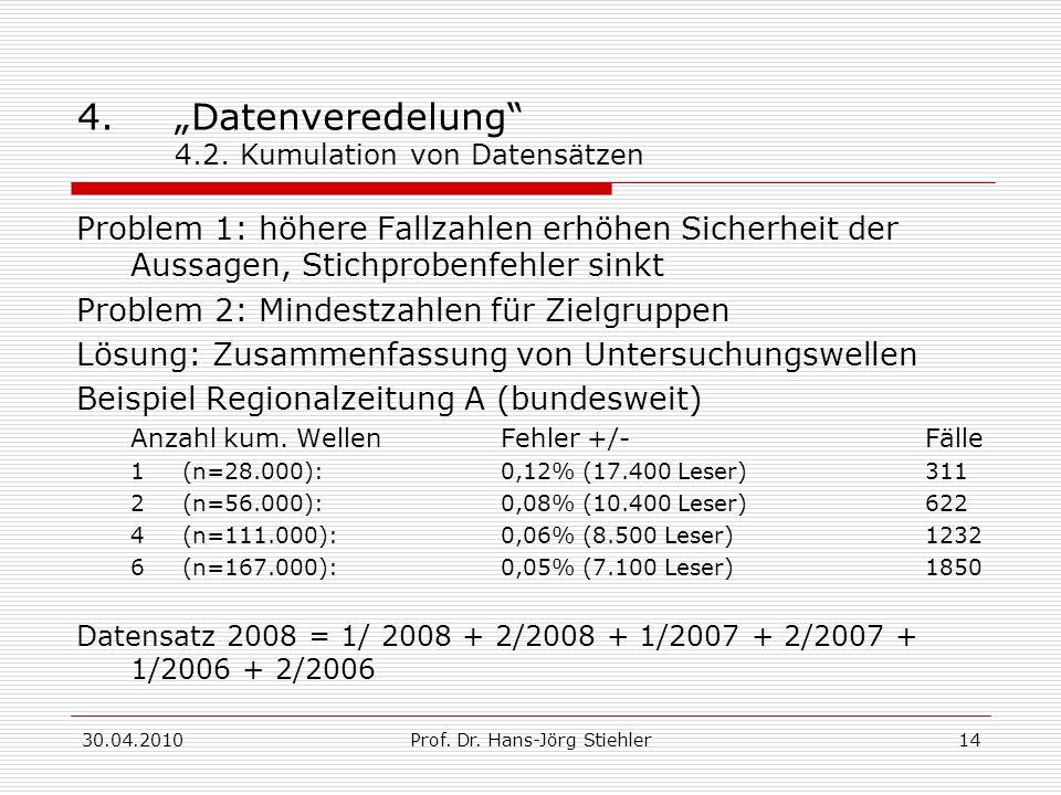"""30.04.2010Prof. Dr. Hans-Jörg Stiehler14 4.""""Datenveredelung"""" 4.2. Kumulation von Datensätzen Problem 1: höhere Fallzahlen erhöhen Sicherheit der Aussa"""