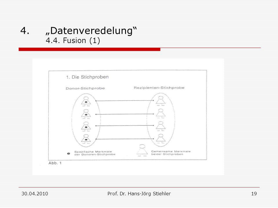"""30.04.2010Prof. Dr. Hans-Jörg Stiehler19 4.""""Datenveredelung 4.4. Fusion (1)"""