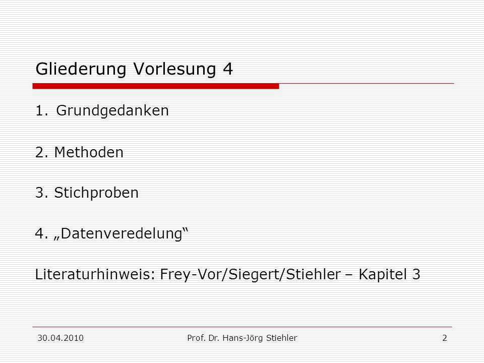 """30.04.2010Prof. Dr. Hans-Jörg Stiehler2 Gliederung Vorlesung 4 1. Grundgedanken 2. Methoden 3. Stichproben 4. """"Datenveredelung"""" Literaturhinweis: Frey"""