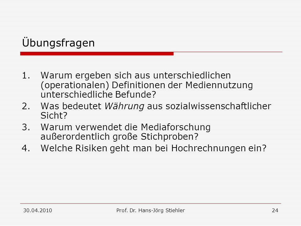 30.04.2010Prof. Dr. Hans-Jörg Stiehler24 Übungsfragen 1.Warum ergeben sich aus unterschiedlichen (operationalen) Definitionen der Mediennutzung unters