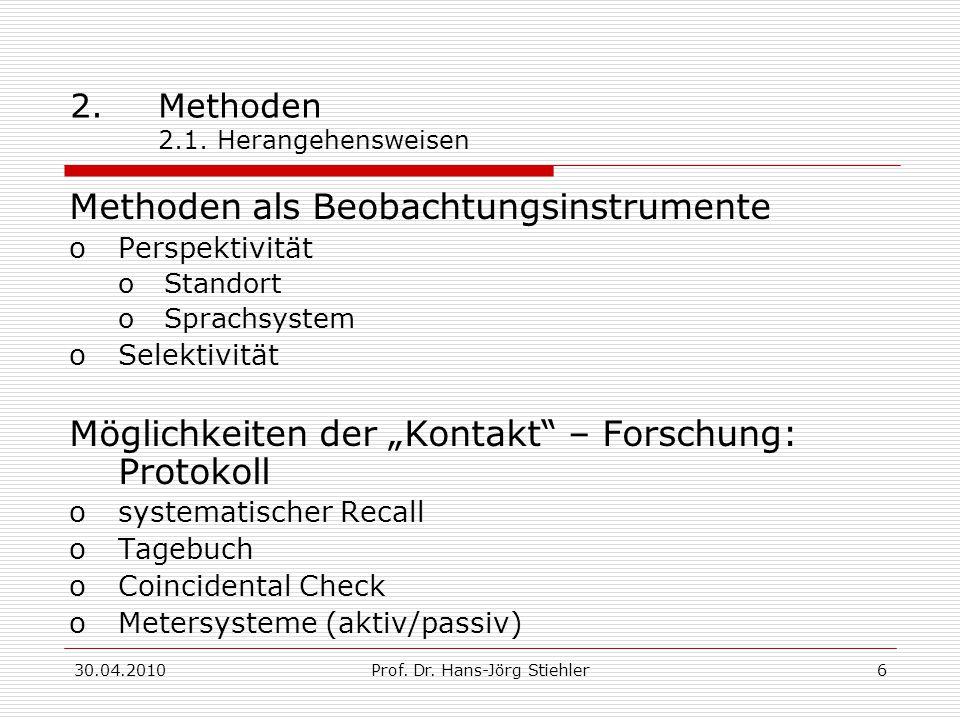 30.04.2010Prof. Dr. Hans-Jörg Stiehler6 2.Methoden 2.1. Herangehensweisen Methoden als Beobachtungsinstrumente oPerspektivität oStandort oSprachsystem