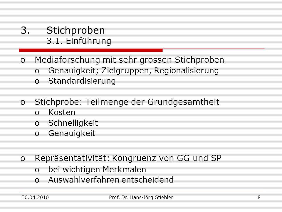 30.04.2010Prof. Dr. Hans-Jörg Stiehler8 3.Stichproben 3.1. Einführung oMediaforschung mit sehr grossen Stichproben oGenauigkeit; Zielgruppen, Regional
