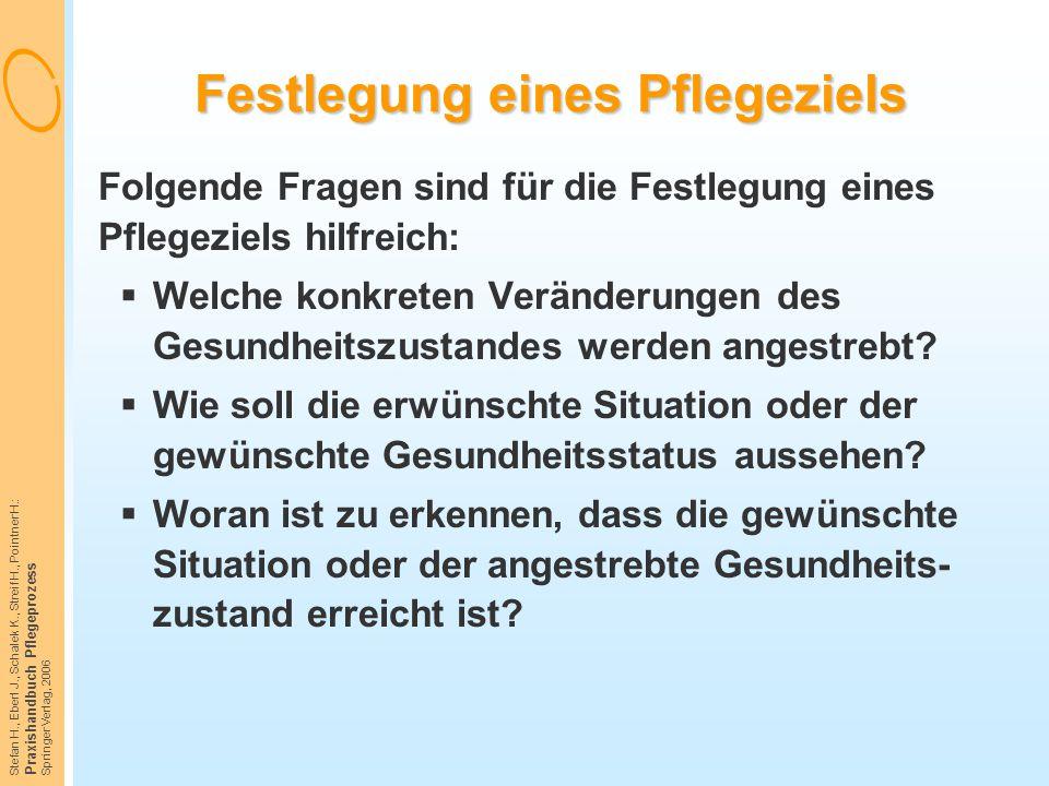 Stefan H., Eberl J., Schalek K., Streif H., Pointner H.: Praxishandbuch Pflegeprozess Springer Verlag, 2006 Festlegung eines Pflegeziels Folgende Frag