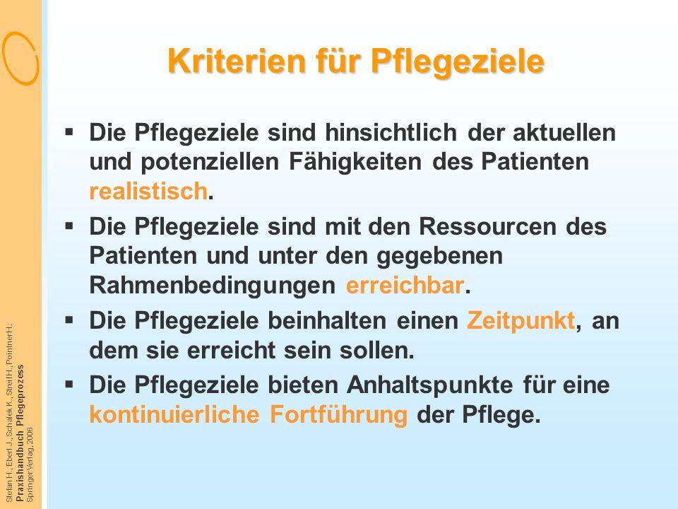 Stefan H., Eberl J., Schalek K., Streif H., Pointner H.: Praxishandbuch Pflegeprozess Springer Verlag, 2006 Kriterien für Pflegeziele  Die Pflegeziel