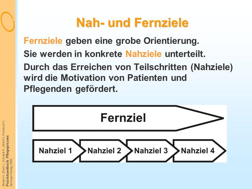 Stefan H., Eberl J., Schalek K., Streif H., Pointner H.: Praxishandbuch Pflegeprozess Springer Verlag, 2006 Nah- und Fernziele Fernziele geben eine gr