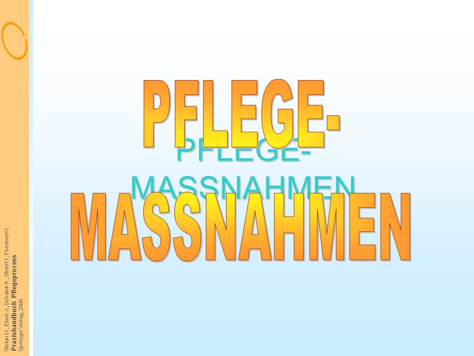 Stefan H., Eberl J., Schalek K., Streif H., Pointner H.: Praxishandbuch Pflegeprozess Springer Verlag, 2006 PFLEGE- MASSNAHMEN