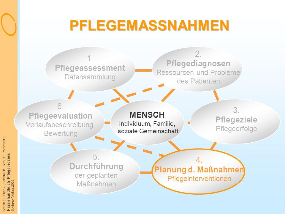 Stefan H., Eberl J., Schalek K., Streif H., Pointner H.: Praxishandbuch Pflegeprozess Springer Verlag, 2006 PFLEGEMASSNAHMEN 1. Pflegeassessment Daten
