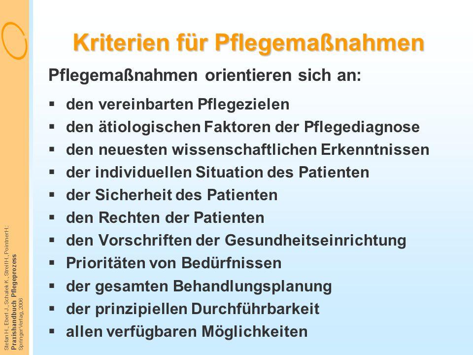 Stefan H., Eberl J., Schalek K., Streif H., Pointner H.: Praxishandbuch Pflegeprozess Springer Verlag, 2006 Kriterien für Pflegemaßnahmen Pflegemaßnah