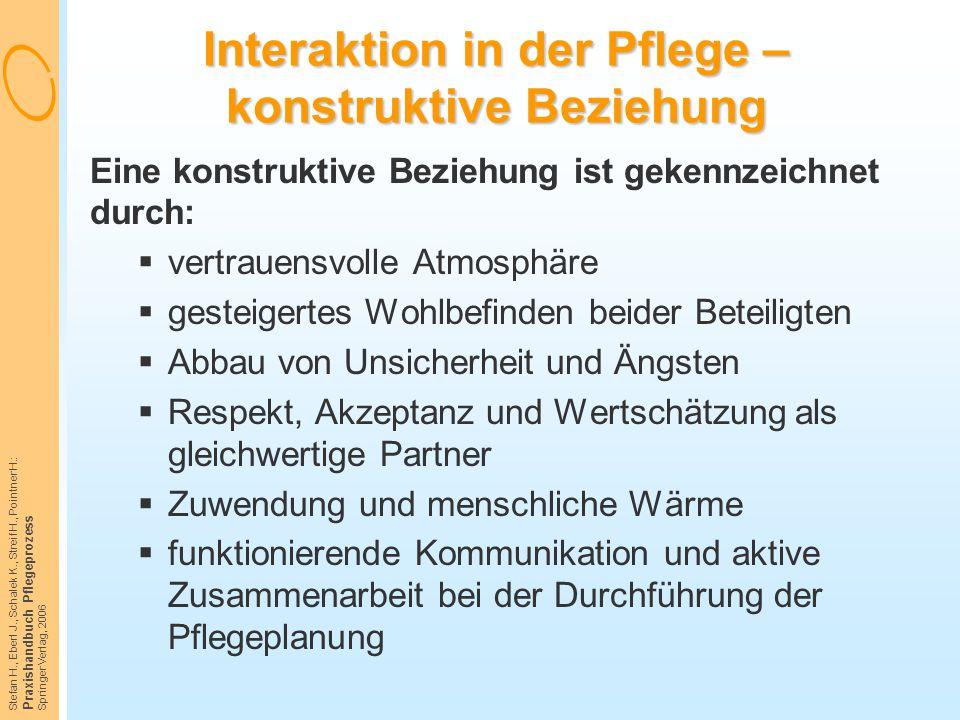 Stefan H., Eberl J., Schalek K., Streif H., Pointner H.: Praxishandbuch Pflegeprozess Springer Verlag, 2006 Interaktion in der Pflege – konstruktive B