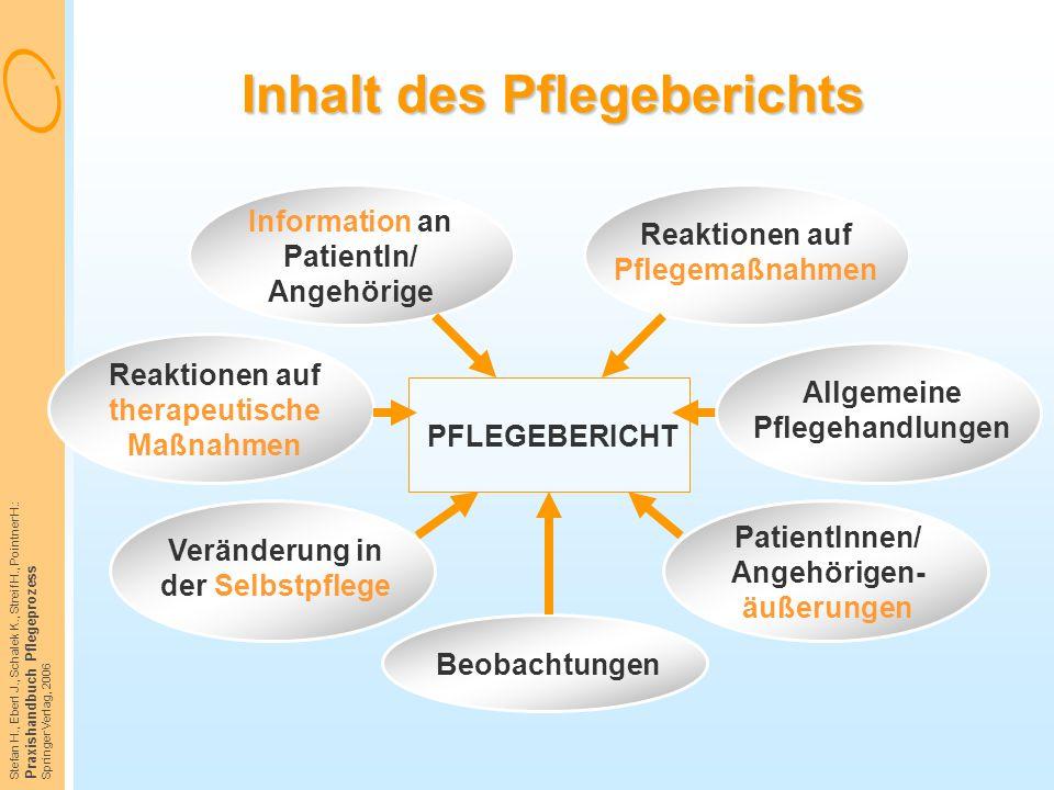 Stefan H., Eberl J., Schalek K., Streif H., Pointner H.: Praxishandbuch Pflegeprozess Springer Verlag, 2006 Inhalt des Pflegeberichts Information an P