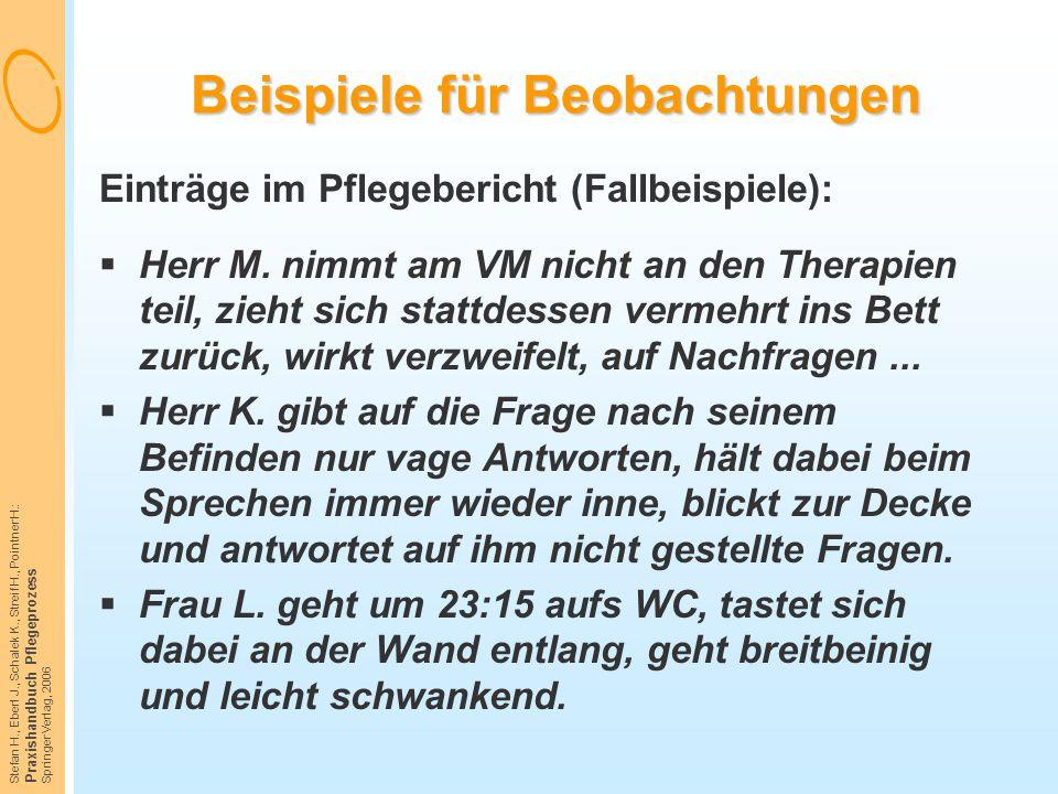 Stefan H., Eberl J., Schalek K., Streif H., Pointner H.: Praxishandbuch Pflegeprozess Springer Verlag, 2006 Beispiele für Beobachtungen Einträge im Pf