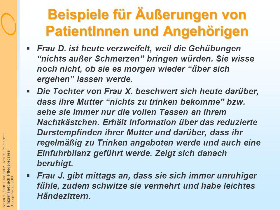 Stefan H., Eberl J., Schalek K., Streif H., Pointner H.: Praxishandbuch Pflegeprozess Springer Verlag, 2006 Beispiele für Äußerungen von PatientInnen