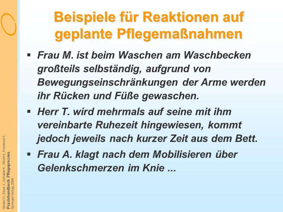 Stefan H., Eberl J., Schalek K., Streif H., Pointner H.: Praxishandbuch Pflegeprozess Springer Verlag, 2006 Beispiele für Reaktionen auf geplante Pfle