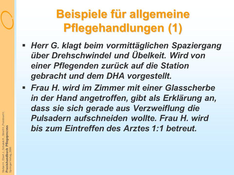 Stefan H., Eberl J., Schalek K., Streif H., Pointner H.: Praxishandbuch Pflegeprozess Springer Verlag, 2006 Beispiele für allgemeine Pflegehandlungen