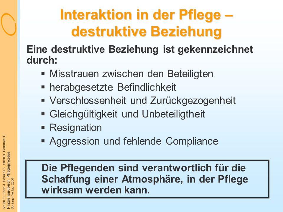 Stefan H., Eberl J., Schalek K., Streif H., Pointner H.: Praxishandbuch Pflegeprozess Springer Verlag, 2006 Interaktion in der Pflege – destruktive Be