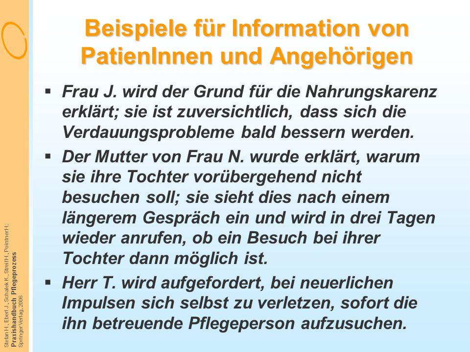Stefan H., Eberl J., Schalek K., Streif H., Pointner H.: Praxishandbuch Pflegeprozess Springer Verlag, 2006 Beispiele für Information von PatienInnen
