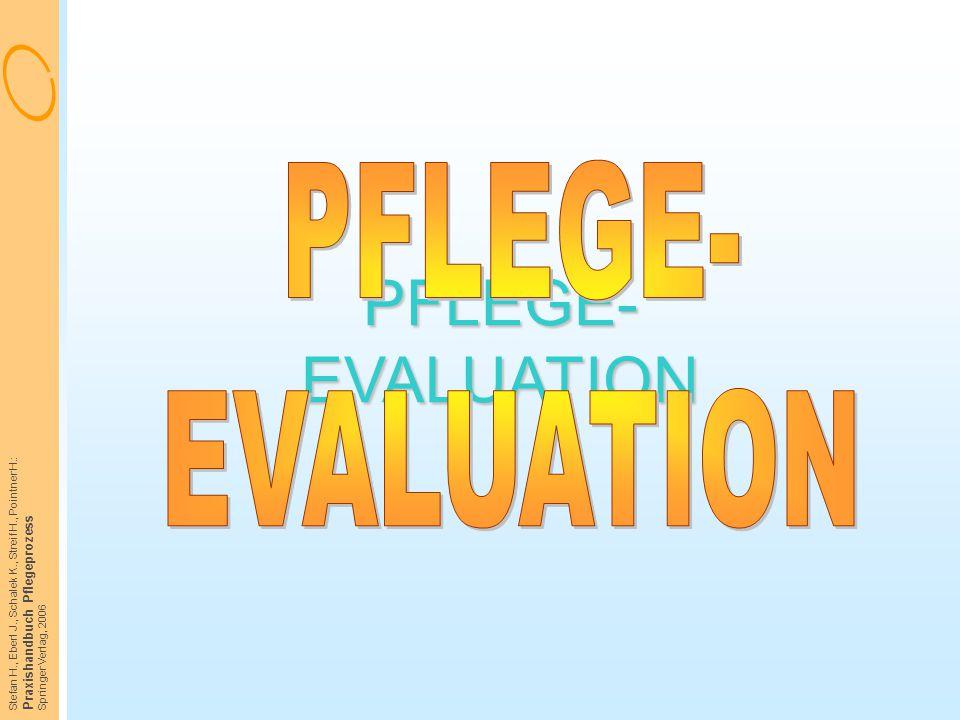 Stefan H., Eberl J., Schalek K., Streif H., Pointner H.: Praxishandbuch Pflegeprozess Springer Verlag, 2006 PFLEGE- EVALUATION