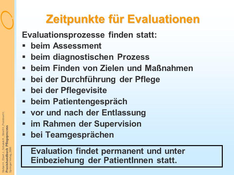 Stefan H., Eberl J., Schalek K., Streif H., Pointner H.: Praxishandbuch Pflegeprozess Springer Verlag, 2006 Zeitpunkte für Evaluationen Evaluationspro