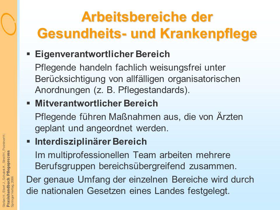 Stefan H., Eberl J., Schalek K., Streif H., Pointner H.: Praxishandbuch Pflegeprozess Springer Verlag, 2006 Arbeitsbereiche der Gesundheits- und Krank