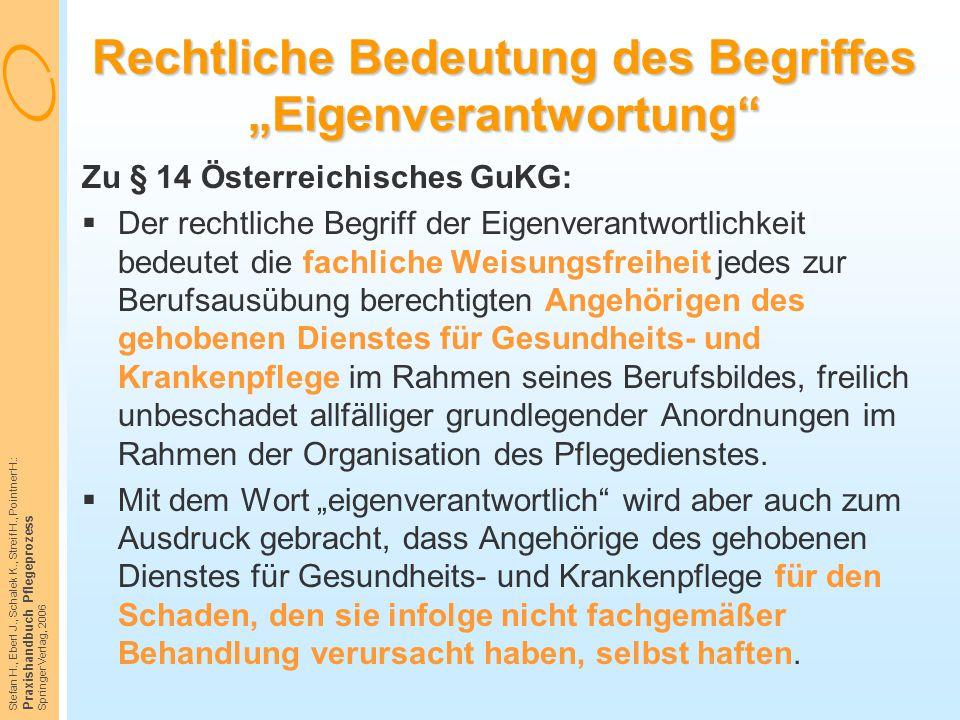 """Stefan H., Eberl J., Schalek K., Streif H., Pointner H.: Praxishandbuch Pflegeprozess Springer Verlag, 2006 Rechtliche Bedeutung des Begriffes """"Eigenv"""