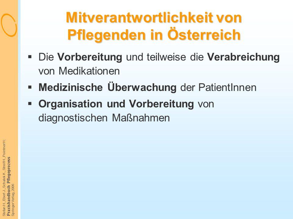 Stefan H., Eberl J., Schalek K., Streif H., Pointner H.: Praxishandbuch Pflegeprozess Springer Verlag, 2006 Mitverantwortlichkeit von Pflegenden in Ös