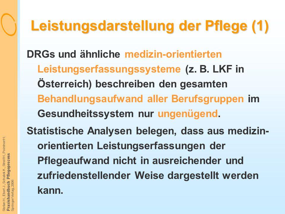 Stefan H., Eberl J., Schalek K., Streif H., Pointner H.: Praxishandbuch Pflegeprozess Springer Verlag, 2006 Leistungsdarstellung der Pflege (1) DRGs u