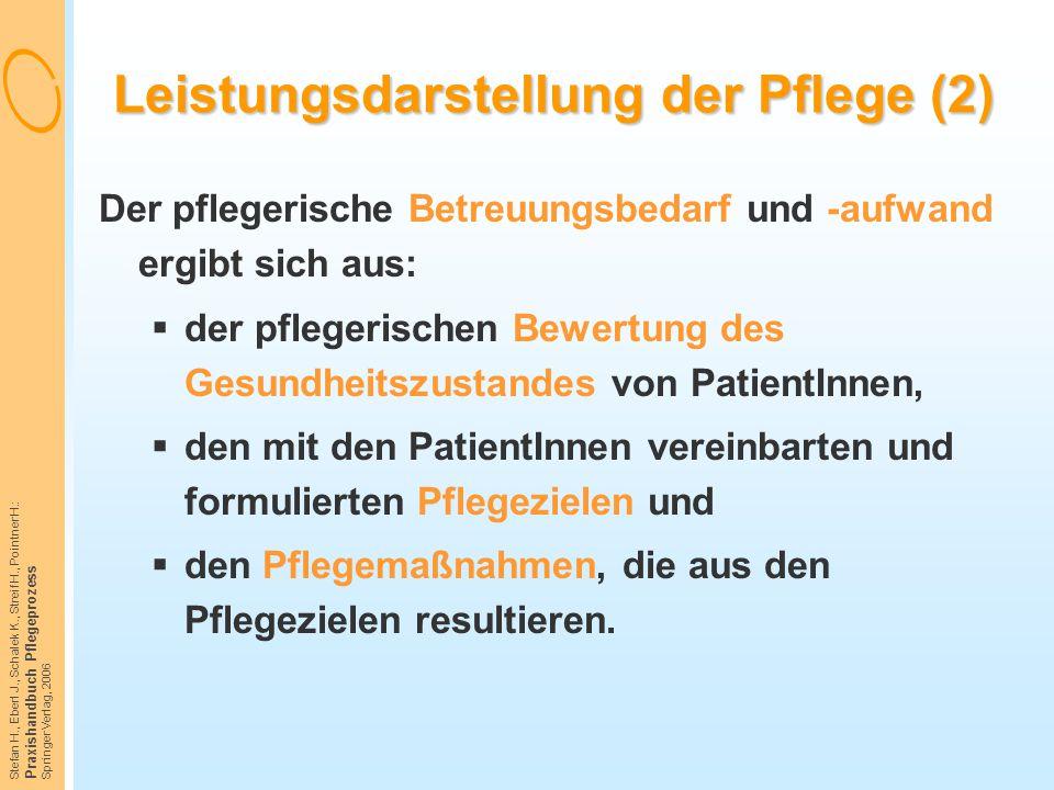 Stefan H., Eberl J., Schalek K., Streif H., Pointner H.: Praxishandbuch Pflegeprozess Springer Verlag, 2006 Leistungsdarstellung der Pflege (2) Der pf