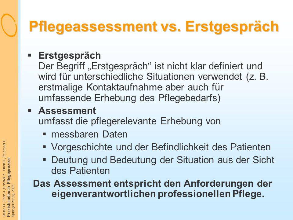 Stefan H., Eberl J., Schalek K., Streif H., Pointner H.: Praxishandbuch Pflegeprozess Springer Verlag, 2006 Pflegeassessment vs. Erstgespräch  Erstge