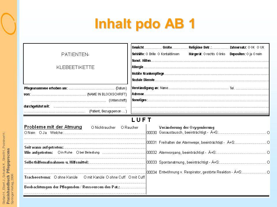 Stefan H., Eberl J., Schalek K., Streif H., Pointner H.: Praxishandbuch Pflegeprozess Springer Verlag, 2006 Inhalt pdo AB 1