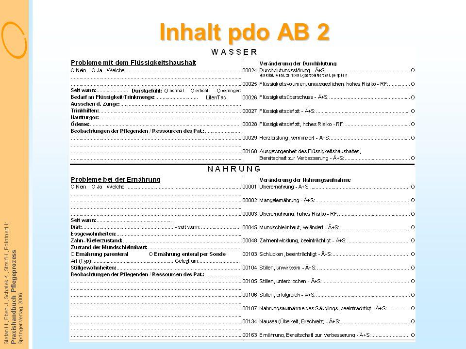 Stefan H., Eberl J., Schalek K., Streif H., Pointner H.: Praxishandbuch Pflegeprozess Springer Verlag, 2006 Inhalt pdo AB 2