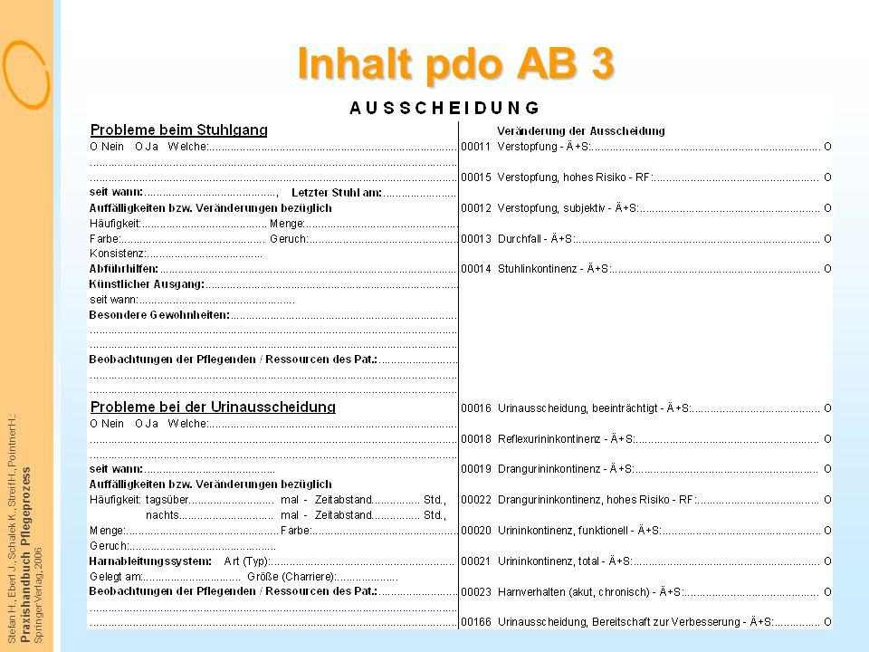 Stefan H., Eberl J., Schalek K., Streif H., Pointner H.: Praxishandbuch Pflegeprozess Springer Verlag, 2006 Inhalt pdo AB 3