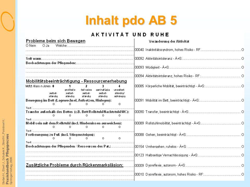 Stefan H., Eberl J., Schalek K., Streif H., Pointner H.: Praxishandbuch Pflegeprozess Springer Verlag, 2006 Inhalt pdo AB 5