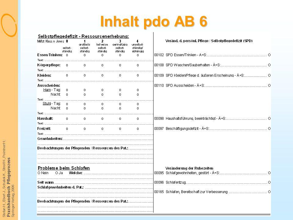 Stefan H., Eberl J., Schalek K., Streif H., Pointner H.: Praxishandbuch Pflegeprozess Springer Verlag, 2006 Inhalt pdo AB 6
