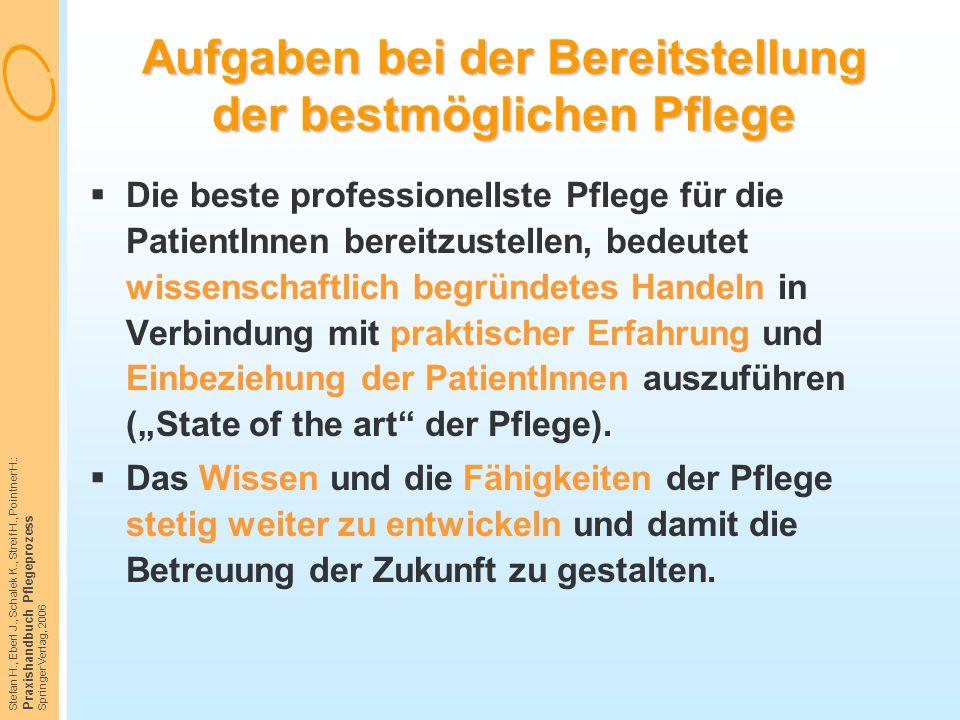 Stefan H., Eberl J., Schalek K., Streif H., Pointner H.: Praxishandbuch Pflegeprozess Springer Verlag, 2006 Aufgaben bei der Bereitstellung der bestmö