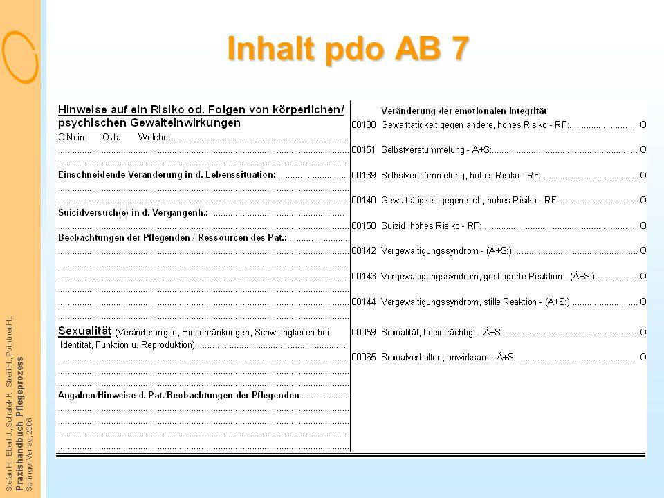 Stefan H., Eberl J., Schalek K., Streif H., Pointner H.: Praxishandbuch Pflegeprozess Springer Verlag, 2006 Inhalt pdo AB 7