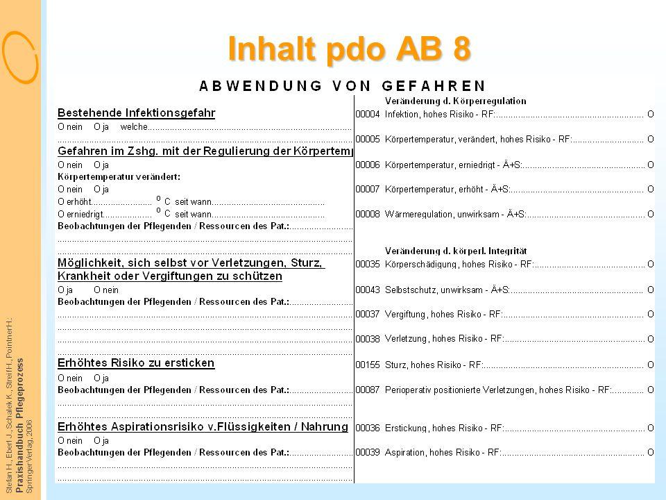 Stefan H., Eberl J., Schalek K., Streif H., Pointner H.: Praxishandbuch Pflegeprozess Springer Verlag, 2006 Inhalt pdo AB 8