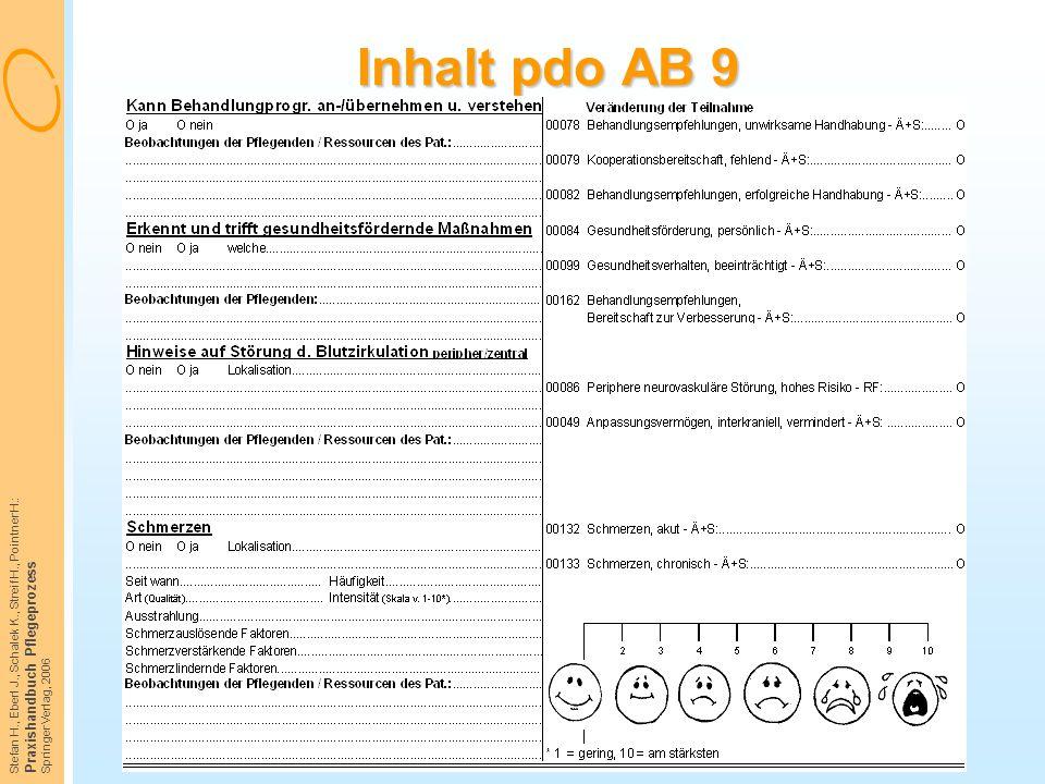 Stefan H., Eberl J., Schalek K., Streif H., Pointner H.: Praxishandbuch Pflegeprozess Springer Verlag, 2006 Inhalt pdo AB 9