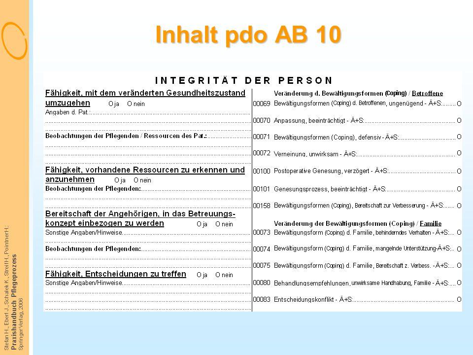 Stefan H., Eberl J., Schalek K., Streif H., Pointner H.: Praxishandbuch Pflegeprozess Springer Verlag, 2006 Inhalt pdo AB 10