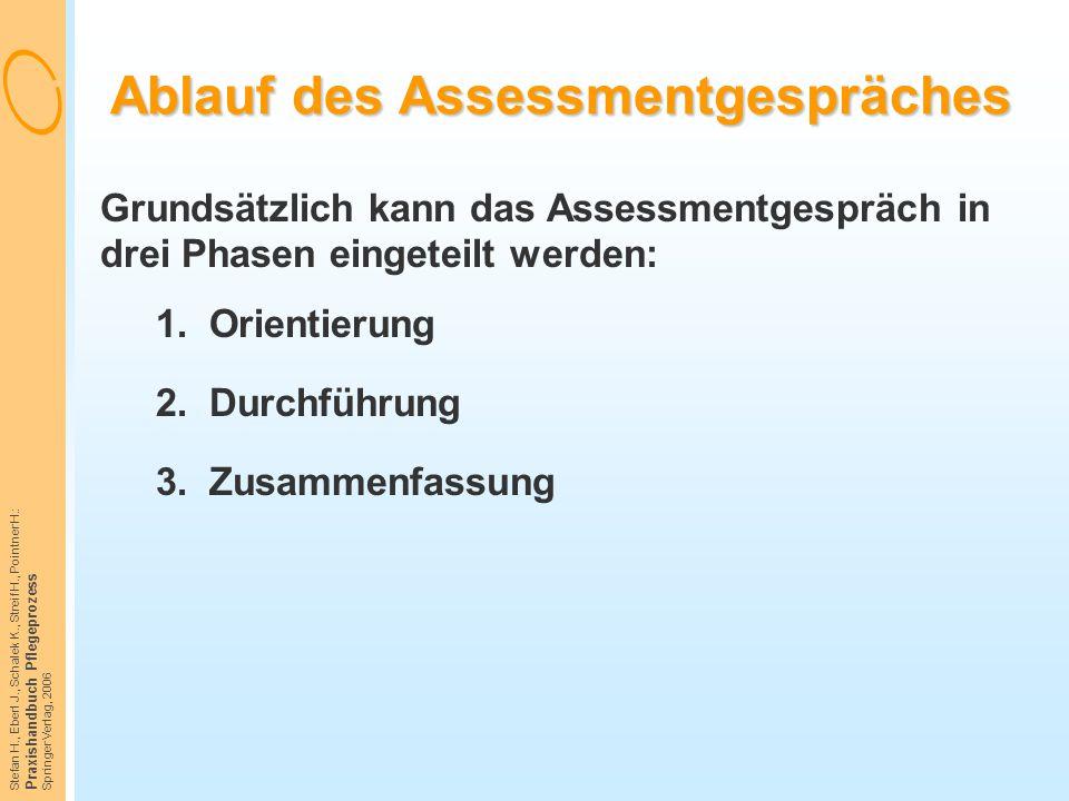 Stefan H., Eberl J., Schalek K., Streif H., Pointner H.: Praxishandbuch Pflegeprozess Springer Verlag, 2006 Ablauf des Assessmentgespräches Grundsätzl