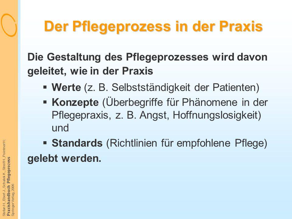Stefan H., Eberl J., Schalek K., Streif H., Pointner H.: Praxishandbuch Pflegeprozess Springer Verlag, 2006 Der Pflegeprozess in der Praxis Die Gestal