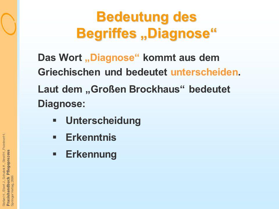 """Stefan H., Eberl J., Schalek K., Streif H., Pointner H.: Praxishandbuch Pflegeprozess Springer Verlag, 2006 Bedeutung des Begriffes """"Diagnose"""" Das Wor"""