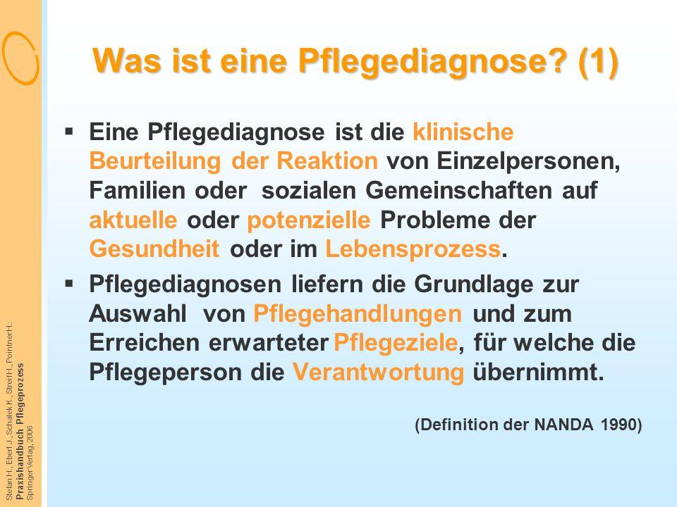 Stefan H., Eberl J., Schalek K., Streif H., Pointner H.: Praxishandbuch Pflegeprozess Springer Verlag, 2006 Was ist eine Pflegediagnose? (1)  Eine Pf