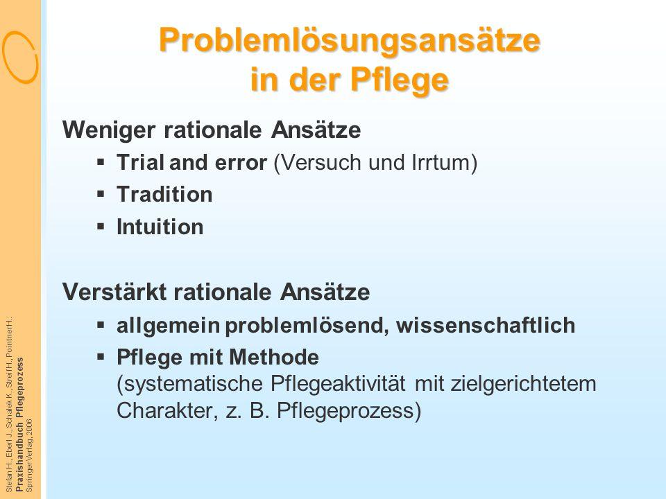 Stefan H., Eberl J., Schalek K., Streif H., Pointner H.: Praxishandbuch Pflegeprozess Springer Verlag, 2006 Problemlösungsansätze in der Pflege Wenige